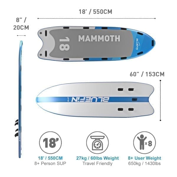 Family SUP, Bluefin SUP 18 'Mammoth Stand Up Paddle Board Kit – SUP voor een Groep van 10 personen / Familie