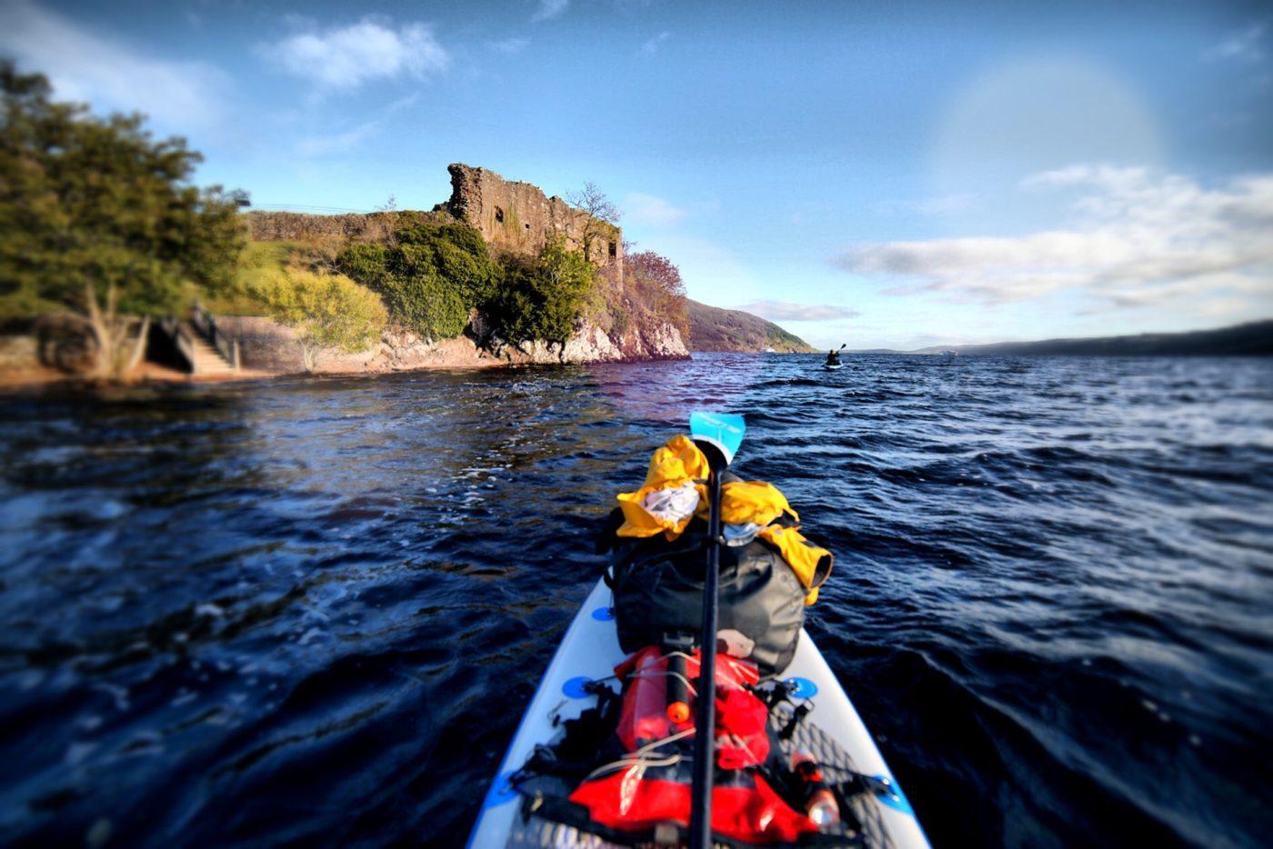 Urqhart Castle Loch Ness by SUP touring board ian Burton