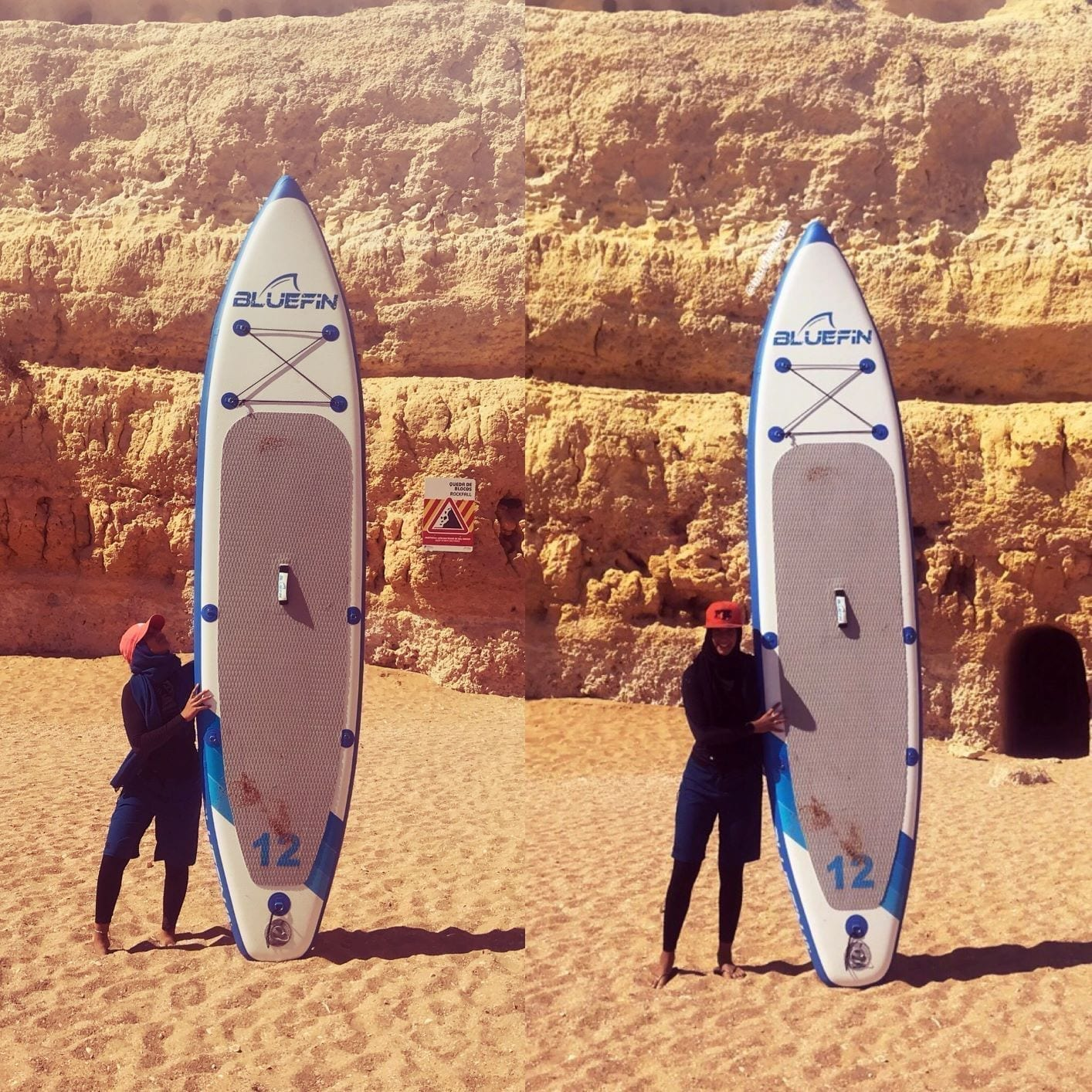 Yasmeen with 12' Bluefin sup cruise on beach in portugal