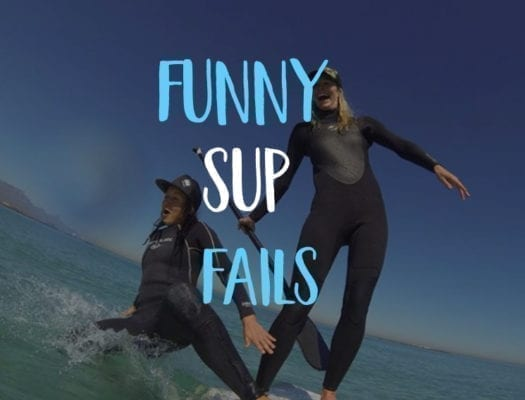 Funny SUP fails 2 girls in wetsuits fall off paddleboard