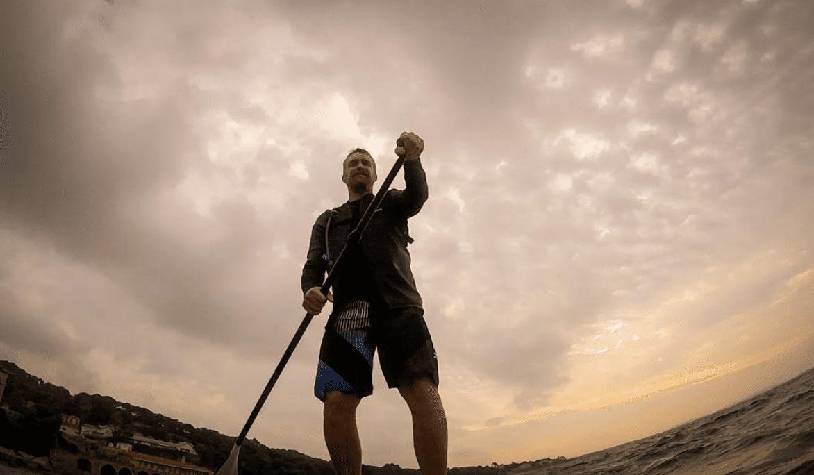 Greg Baruge on his SUP in Antibes