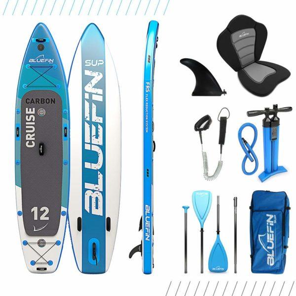"Bluefin Cruise Carbon SUP Package, Bluefin Cruise Carbon SUP Package | Stand Up Inflatable Paddle Board | 6"" Thick | Carbon Rail & Paddle | Kayak Conversion Kit – 12'"