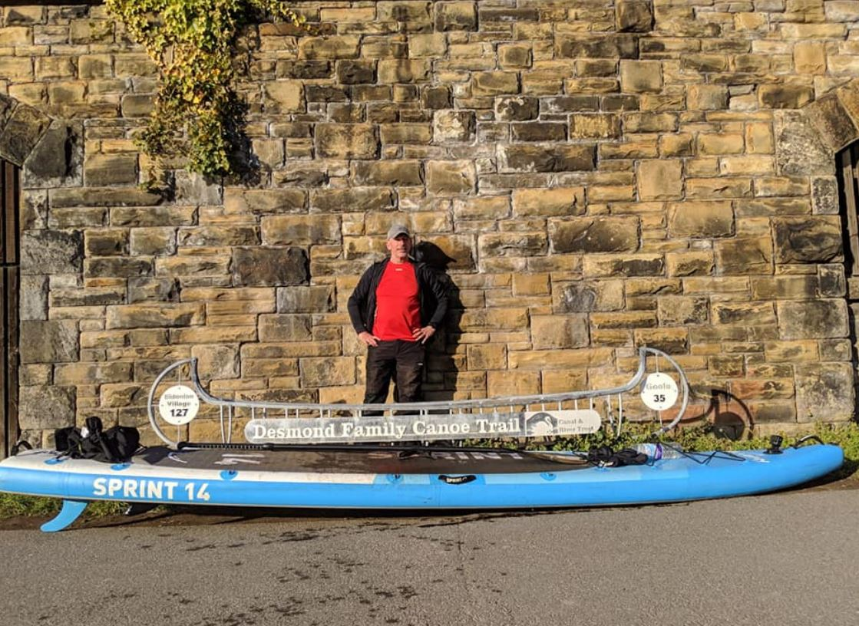 jason elliot with his bluefin sprint next to desmond family canal