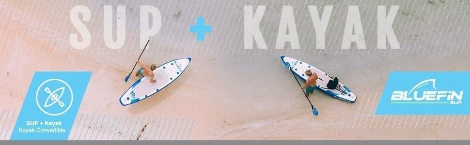 Standup Paddle Board Gonflable, SUP Cruise de Bluefin   Standup Paddle Board Gonflable   Adapté aux Débutants & Enfants   15cm de Largeur   Pagaie en Fibre de Verre   Kit de Transformation Kayak