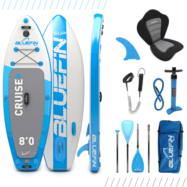"SUP, Bluefin Cruise Junior 8′ SUP Package | Kids Stand Up Inflatable Paddle Board | 6"" Thick 