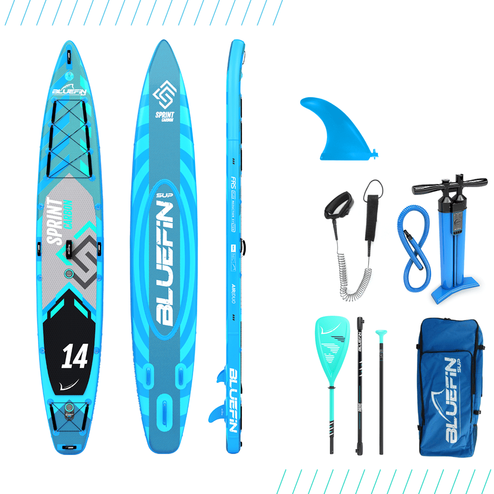 Bluefin SUP 14′ Sprint Carbon Stand Up Paddle Board Kit – Advanced Touring SUP