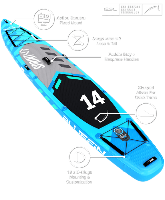SUP 14′ Sprint Kit, Bluefin SUP 14′ Sprint Stand Up Paddle Board Kit – Touring SUP